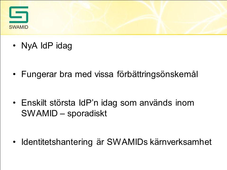 NyA IdP idag Fungerar bra med vissa förbättringsönskemål Enskilt största IdP'n idag som används inom SWAMID – sporadiskt Identitetshantering är SWAMID