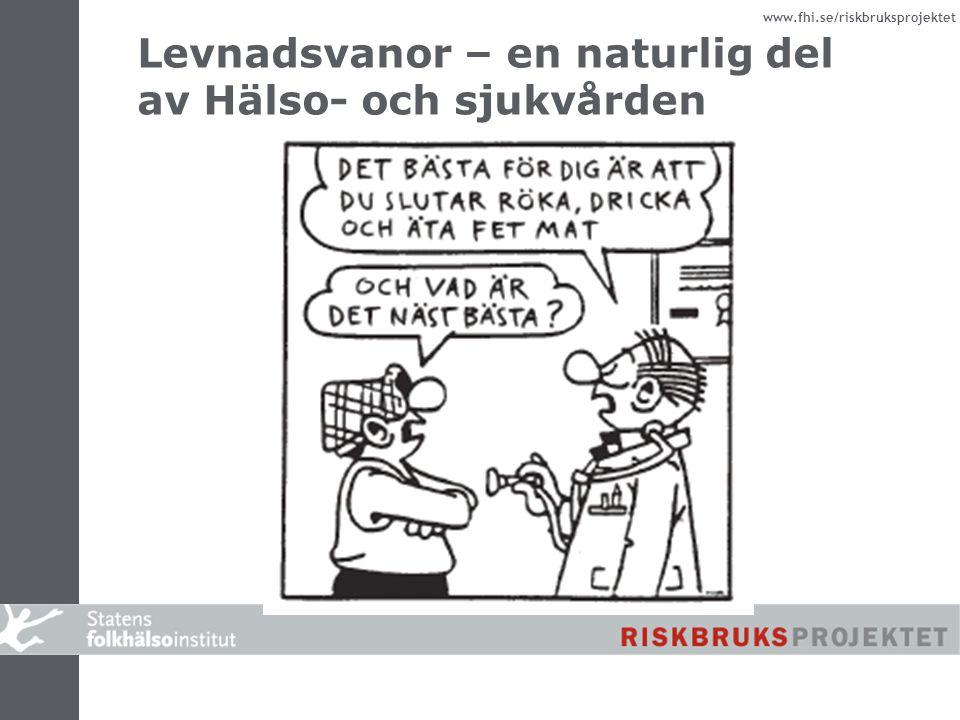 www.fhi.se/riskbruksprojektet Levnadsvanor – en naturlig del av Hälso- och sjukvården