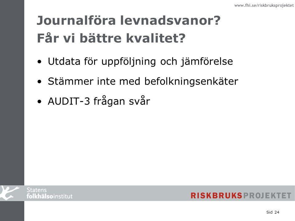 www.fhi.se/riskbruksprojektet Sid 24 Journalföra levnadsvanor? Får vi bättre kvalitet? Utdata för uppföljning och jämförelse Stämmer inte med befolkni
