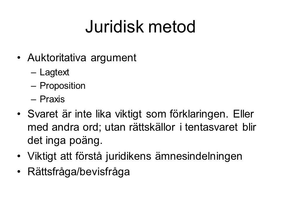 Juridisk metod Auktoritativa argument –Lagtext –Proposition –Praxis Svaret är inte lika viktigt som förklaringen. Eller med andra ord; utan rättskällo