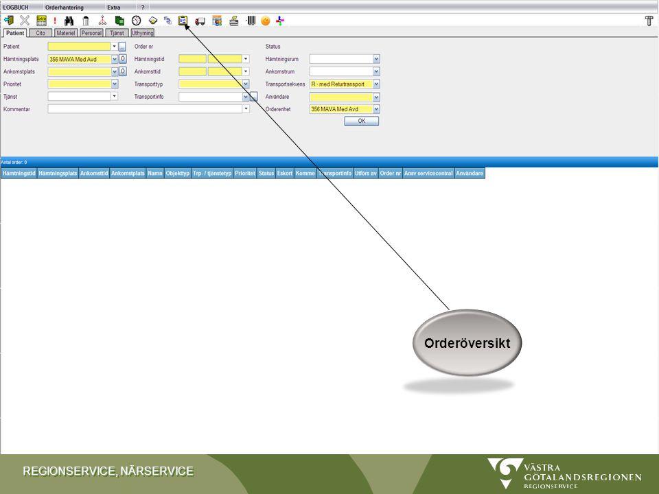 REGIONSERVICE, NÄRSERVICE Kopplade enheter Ytterligare information finns i manualen under Koppla samman avdelningar