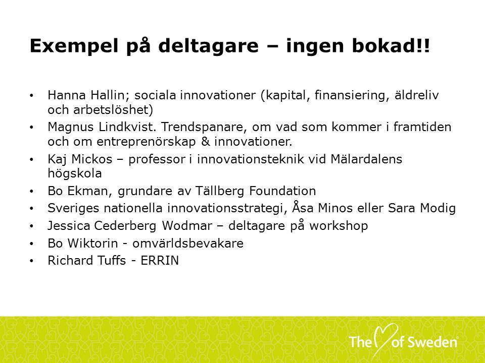 Exempel på deltagare – ingen bokad!.