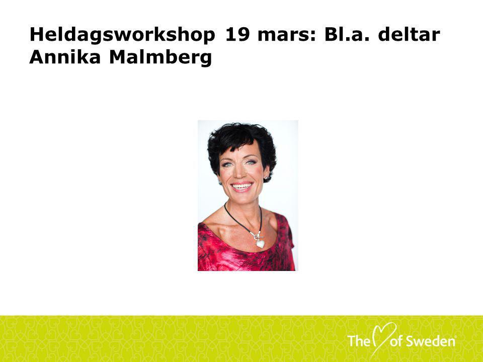 Heldagsworkshop 19 mars: Bl.a. deltar Annika Malmberg