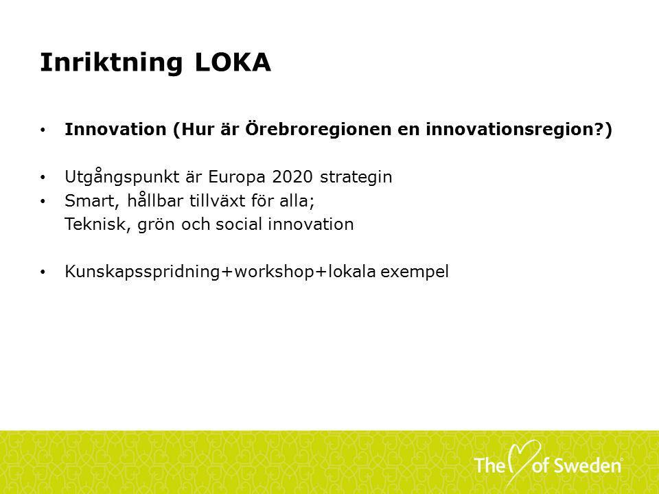 Inriktning LOKA Innovation (Hur är Örebroregionen en innovationsregion?) Utgångspunkt är Europa 2020 strategin Smart, hållbar tillväxt för alla; Teknisk, grön och social innovation Kunskapsspridning+workshop+lokala exempel