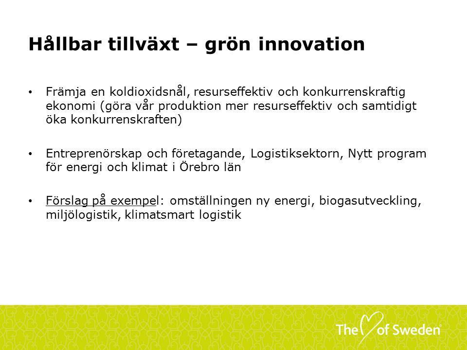 Hållbar tillväxt – grön innovation Främja en koldioxidsnål, resurseffektiv och konkurrenskraftig ekonomi (göra vår produktion mer resurseffektiv och samtidigt öka konkurrenskraften) Entreprenörskap och företagande, Logistiksektorn, Nytt program för energi och klimat i Örebro län Förslag på exempel: omställningen ny energi, biogasutveckling, miljölogistik, klimatsmart logistik