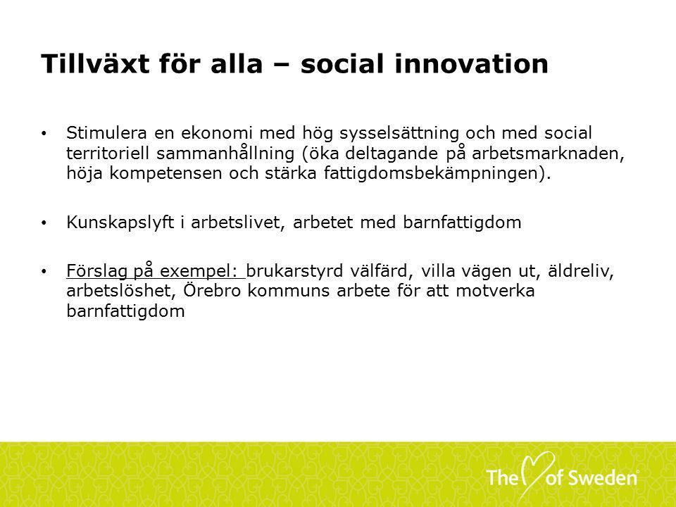 Tillväxt för alla – social innovation Stimulera en ekonomi med hög sysselsättning och med social territoriell sammanhållning (öka deltagande på arbetsmarknaden, höja kompetensen och stärka fattigdomsbekämpningen).