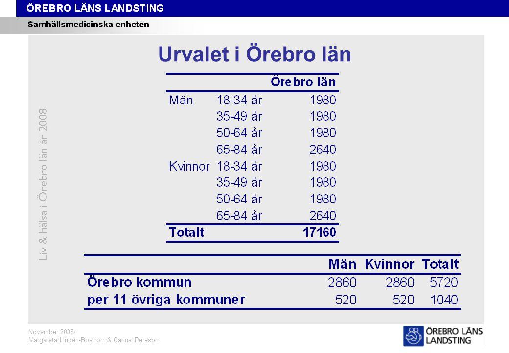 Urval Örebro Liv & hälsa i Örebro län år 2008 November 2008/ Margareta Lindén-Boström & Carina Persson Urvalet i Örebro län