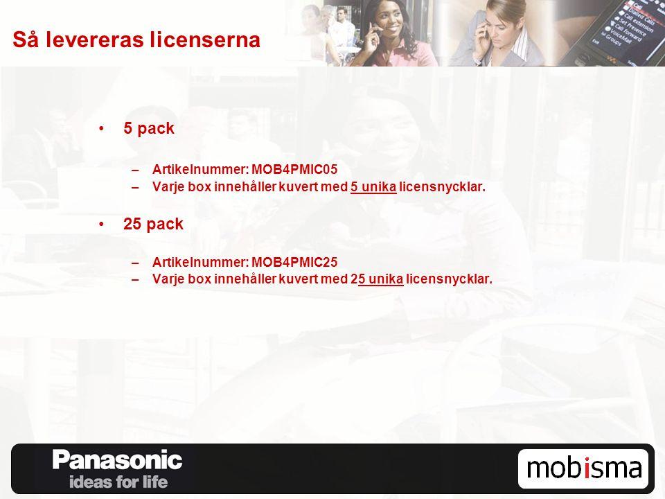 Så levereras licenserna 5 pack –Artikelnummer: MOB4PMIC05 –Varje box innehåller kuvert med 5 unika licensnycklar. 25 pack –Artikelnummer: MOB4PMIC25 –