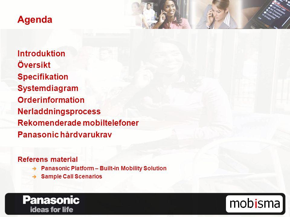 Agenda Introduktion Översikt Specifikation Systemdiagram Orderinformation Nerladdningsprocess Rekomenderade mobiltelefoner Panasonic hårdvarukrav Refe