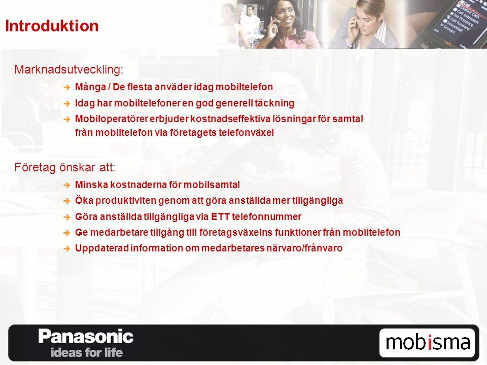Introduktion Marknadsutveckling:  Många / De flesta anväder idag mobiltelefon  Idag har mobiltelefoner en god generell täckning  Mobiloperatörer er