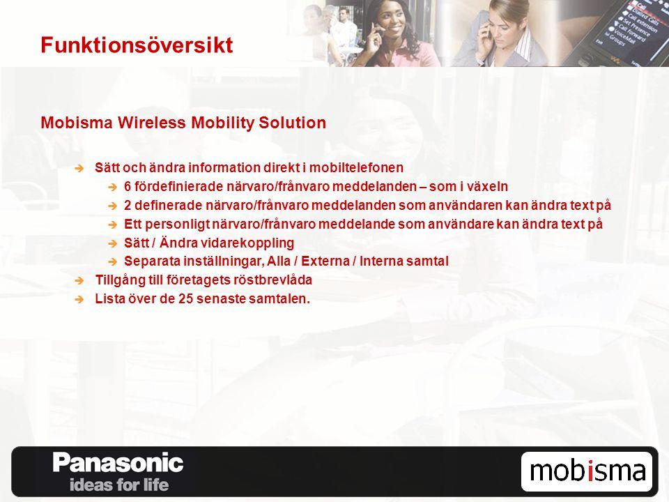 Funktionsöversikt Mobisma Wireless Mobility Solution  Sätt och ändra information direkt i mobiltelefonen  6 fördefinierade närvaro/frånvaro meddelan