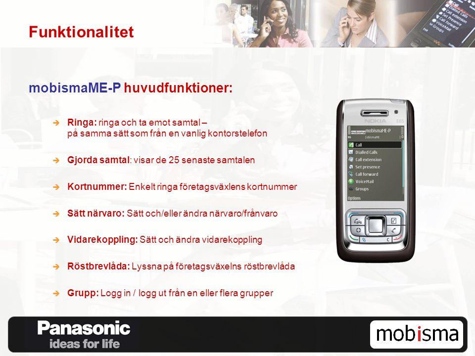 Funktionalitet mobismaME-P huvudfunktioner:  Ringa: ringa och ta emot samtal – på samma sätt som från en vanlig kontorstelefon  Gjorda samtal: visar
