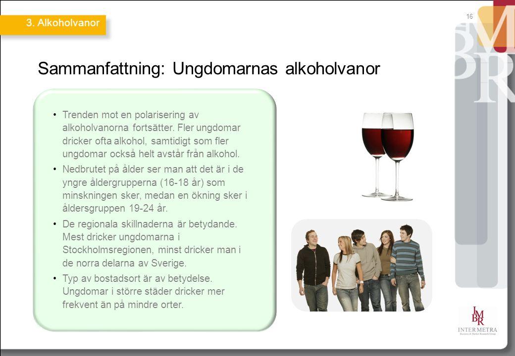 16 Sammanfattning: Ungdomarnas alkoholvanor Trenden mot en polarisering av alkoholvanorna fortsätter. Fler ungdomar dricker ofta alkohol, samtidigt so