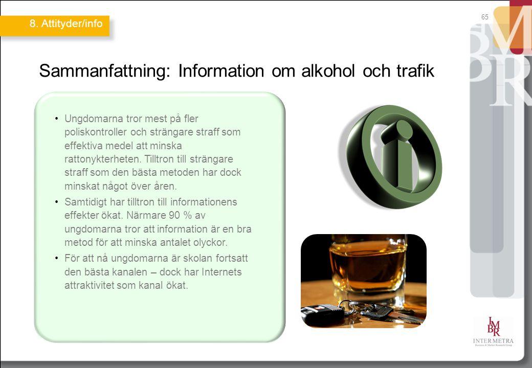 65 Sammanfattning: Information om alkohol och trafik Ungdomarna tror mest på fler poliskontroller och strängare straff som effektiva medel att minska rattonykterheten.