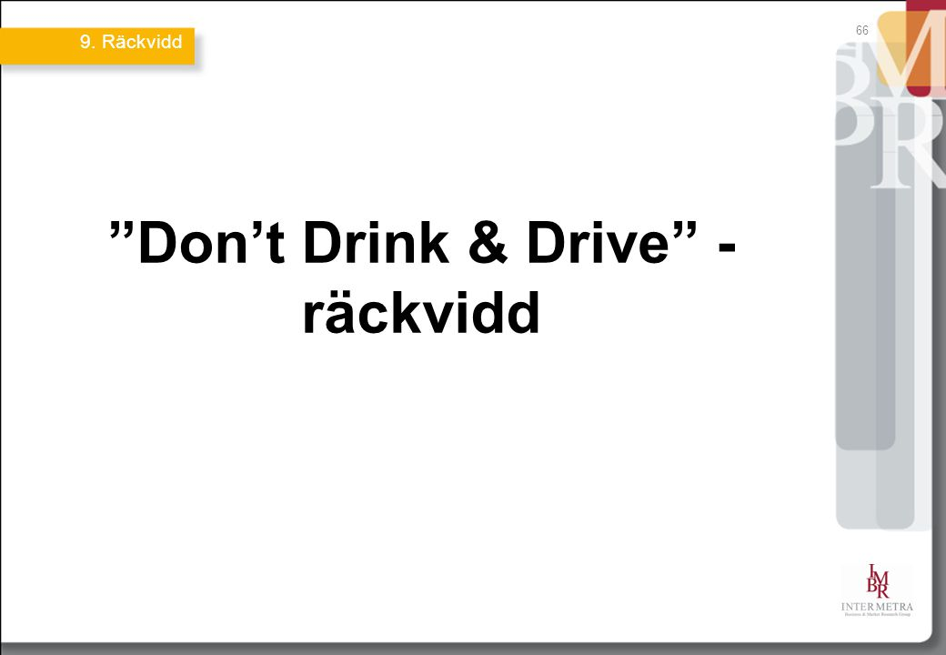 66 Don't Drink & Drive - räckvidd 9. Räckvidd