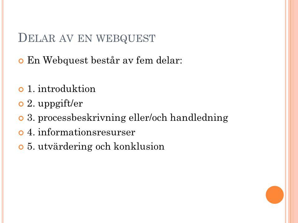 D ELAR AV EN WEBQUEST En Webquest består av fem delar: 1. introduktion 2. uppgift/er 3. processbeskrivning eller/och handledning 4. informationsresurs