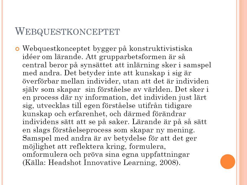 W EBQUESTKONCEPTET Webquestkonceptet bygger på konstruktivistiska idéer om lärande. Att grupparbetsformen är så central beror på synsättet att inlärni