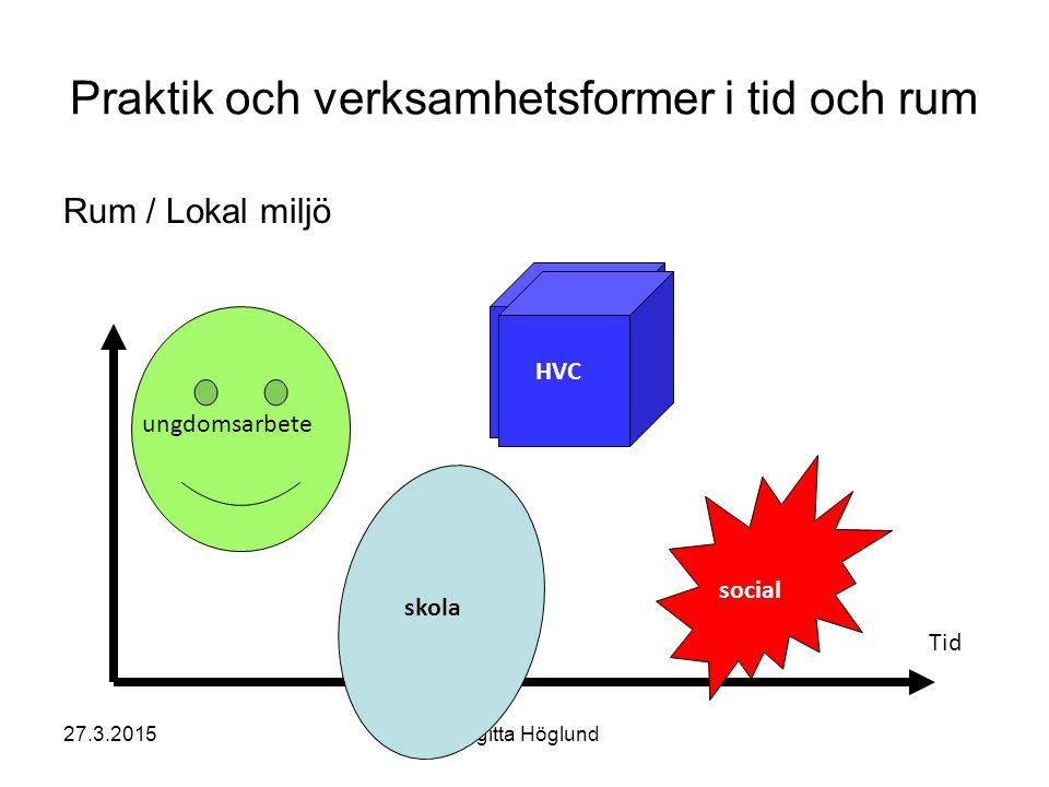 27.3.2015Birgitta Höglund Praktik och verksamhetsformer i tid och rum Rum / Lokal miljö Tid ungdomsarbete skola social HVC