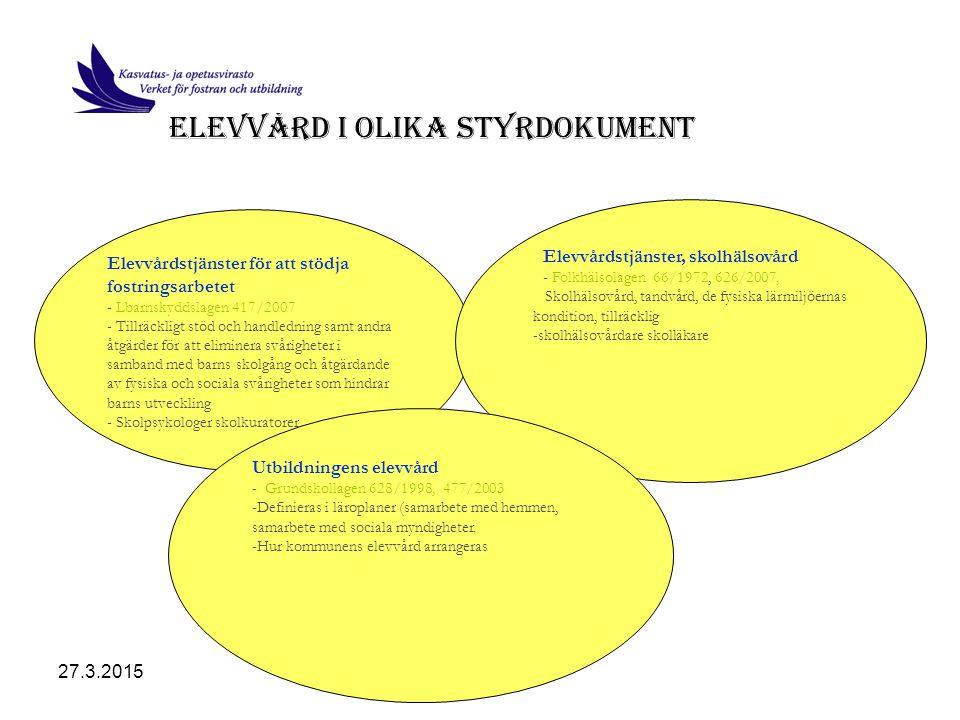 27.3.2015Birgitta Höglund Elevvårdens tvåspråkiga ledningsteam SAMMANSÄTTNING: Direktörena för verket för fostran och utbildning, social- och hälsovården och ungdomsverket samt skoldirektörerna och direktören för småbarnsfostran.