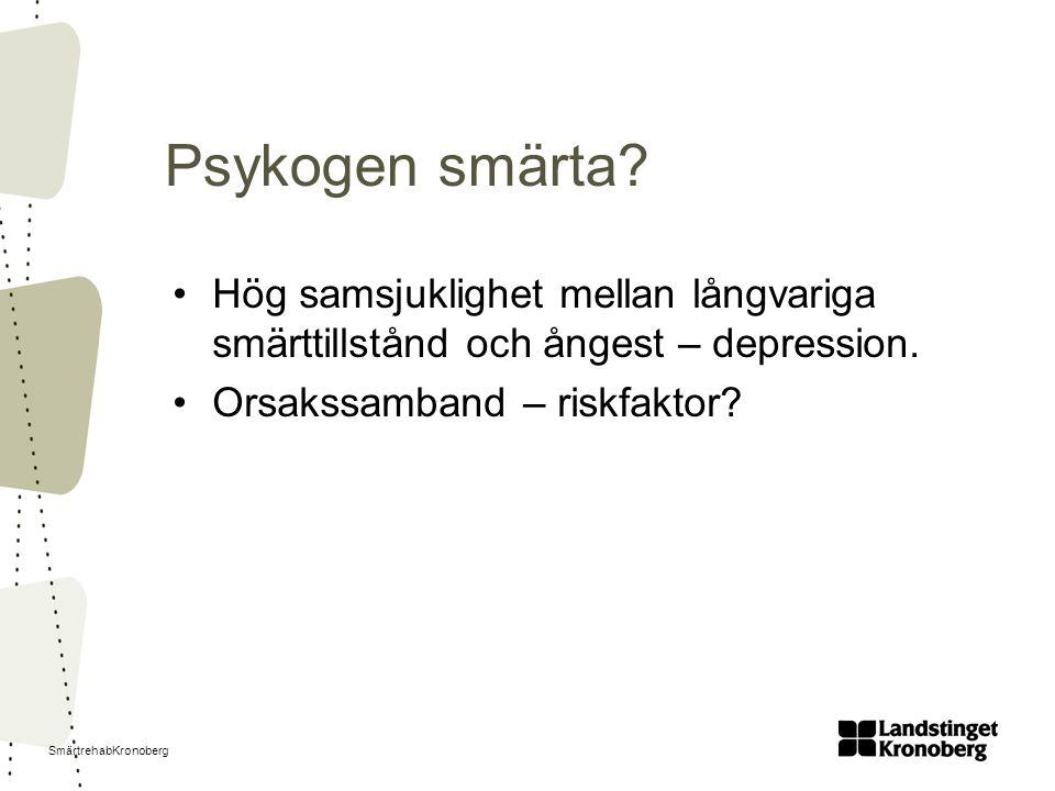 SmärtrehabKronoberg Psykogen smärta? Hög samsjuklighet mellan långvariga smärttillstånd och ångest – depression. Orsakssamband – riskfaktor?
