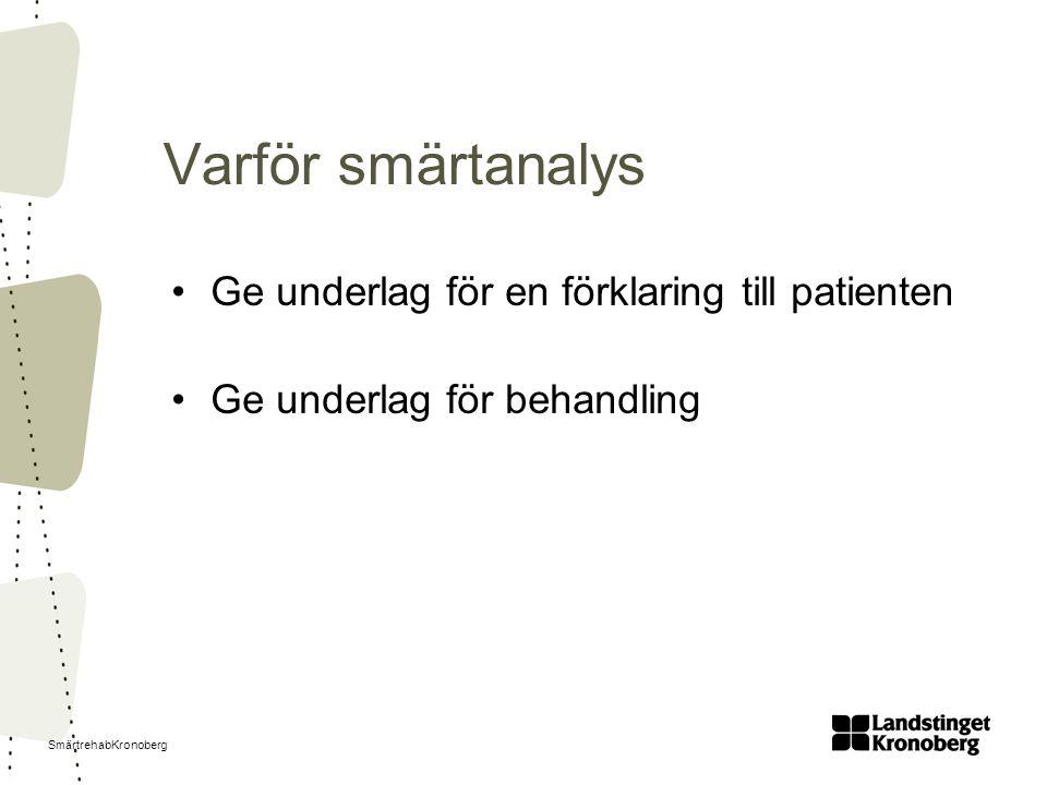 SmärtrehabKronoberg Varför smärtanalys Ge underlag för en förklaring till patienten Ge underlag för behandling