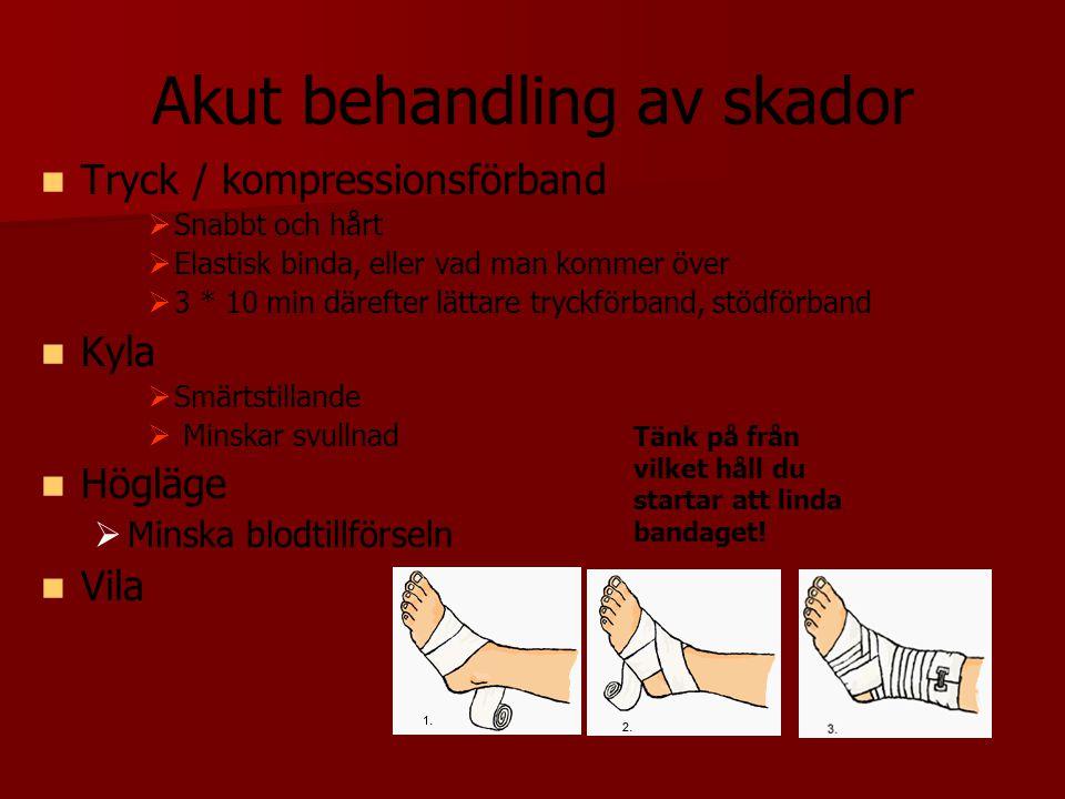 Akut behandling av skador Tryck / kompressionsförband   Snabbt och hårt   Elastisk binda, eller vad man kommer över   3 * 10 min därefter lättar