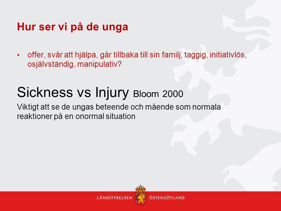 Hur ser vi på de unga offer, svår att hjälpa, går tillbaka till sin familj, taggig, initiativlös, osjälvständig, manipulativ? Sickness vs Injury Bloom