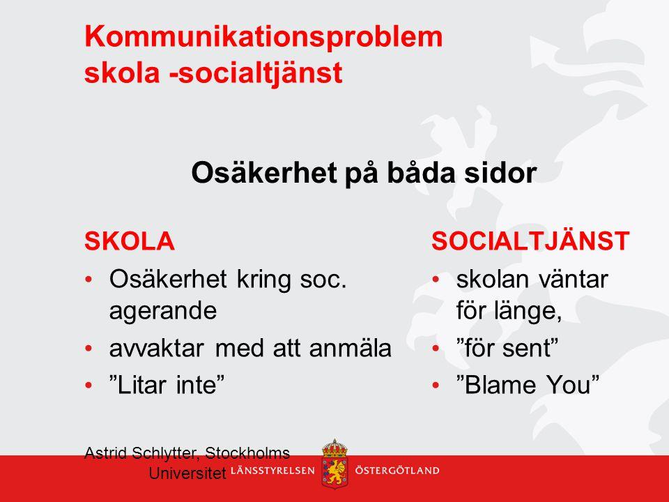 """Kommunikationsproblem skola -socialtjänst SKOLA Osäkerhet kring soc. agerande avvaktar med att anmäla """"Litar inte"""" SOCIALTJÄNST skolan väntar för läng"""