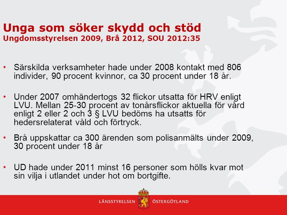 Unga som söker skydd och stöd Ungdomsstyrelsen 2009, Brå 2012, SOU 2012:35 Särskilda verksamheter hade under 2008 kontakt med 806 individer, 90 procen