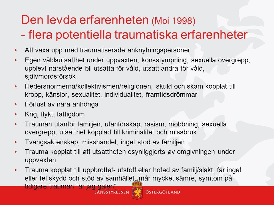 Den levda erfarenheten (Moi 1998) - flera potentiella traumatiska erfarenheter Att växa upp med traumatiserade anknytningspersoner Egen våldsutsatthet