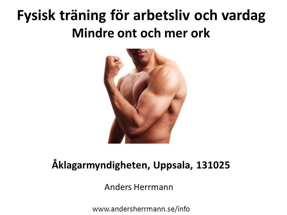 Fysisk träning för arbetsliv och vardag Mindre ont och mer ork Åklagarmyndigheten, Uppsala, 131025 Anders Herrmann www.andersherrmann.se/info