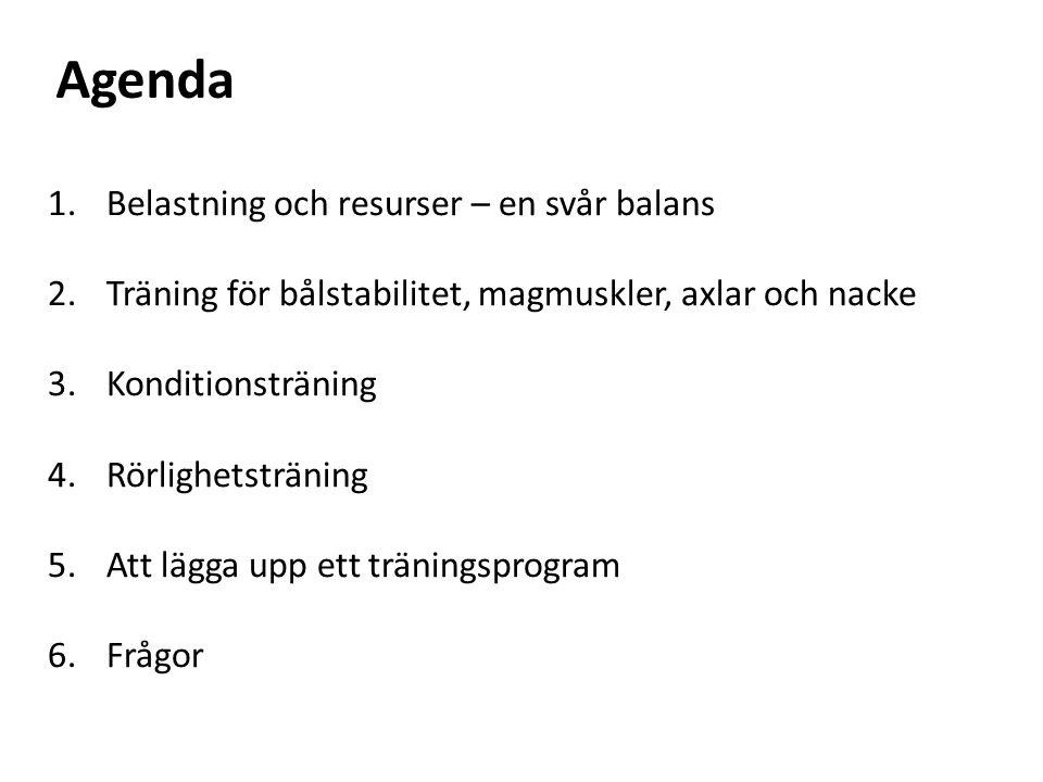 1.Belastning och resurser – en svår balans 2.Träning för bålstabilitet, magmuskler, axlar och nacke 3.Konditionsträning 4.Rörlighetsträning 5.Att lägga upp ett träningsprogram 6.Frågor Agenda