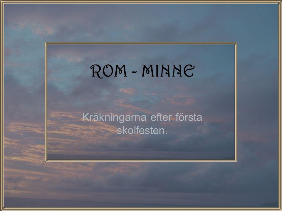 ROM - MINNE Kräkningarna efter första skolfesten.
