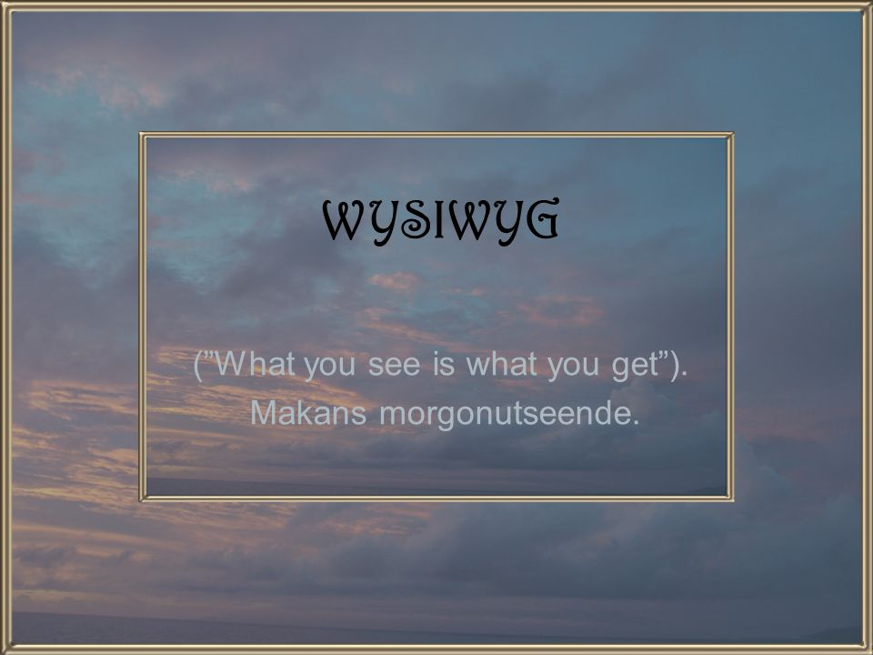 WYSIWYG ( What you see is what you get ). Makans morgonutseende.