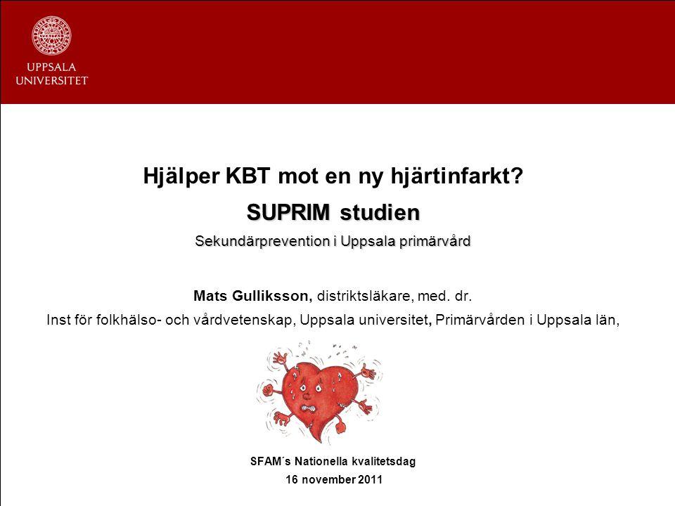 Hjälper KBT mot en ny hjärtinfarkt? SUPRIM studien Sekundärprevention i Uppsala primärvård Mats Gulliksson, distriktsläkare, med. dr. Inst för folkhäl