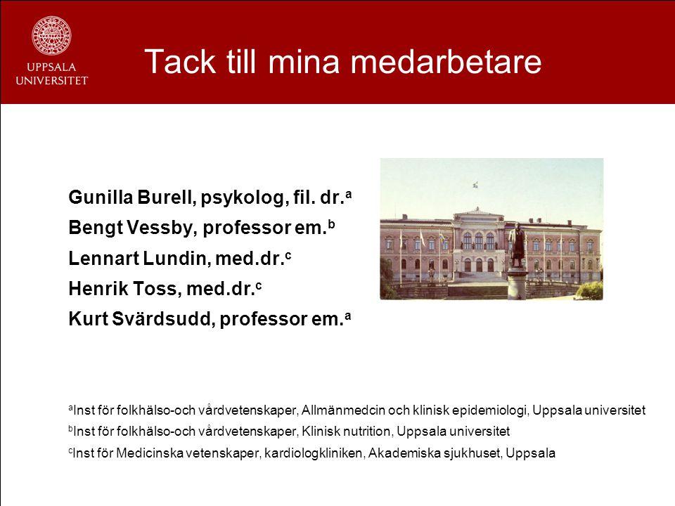 Tack till mina medarbetare Gunilla Burell, psykolog, fil. dr. a Bengt Vessby, professor em. b Lennart Lundin, med.dr. c Henrik Toss, med.dr. c Kurt Sv