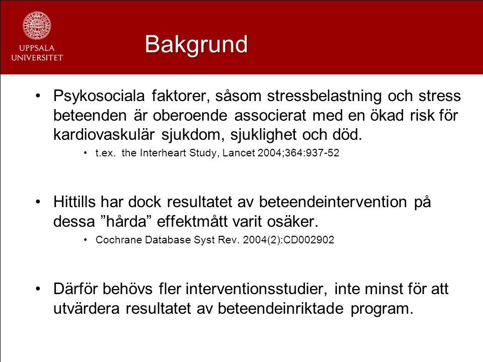Bakgrund Psykosociala faktorer, såsom stressbelastning och stress beteenden är oberoende associerat med en ökad risk för kardiovaskulär sjukdom, sjukl