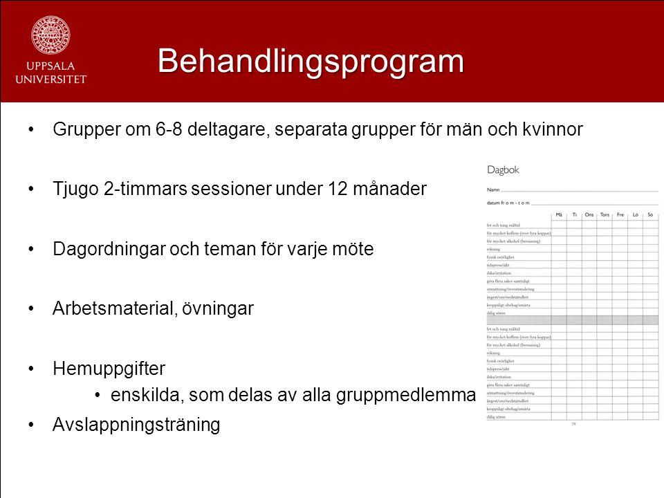 Behandlingsprogram Grupper om 6-8 deltagare, separata grupper för män och kvinnor Tjugo 2-timmars sessioner under 12 månader Dagordningar och teman fö