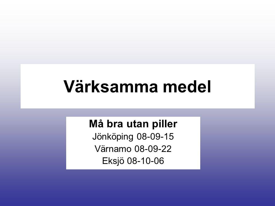 Värksamma medel Må bra utan piller Jönköping 08-09-15 Värnamo 08-09-22 Eksjö 08-10-06
