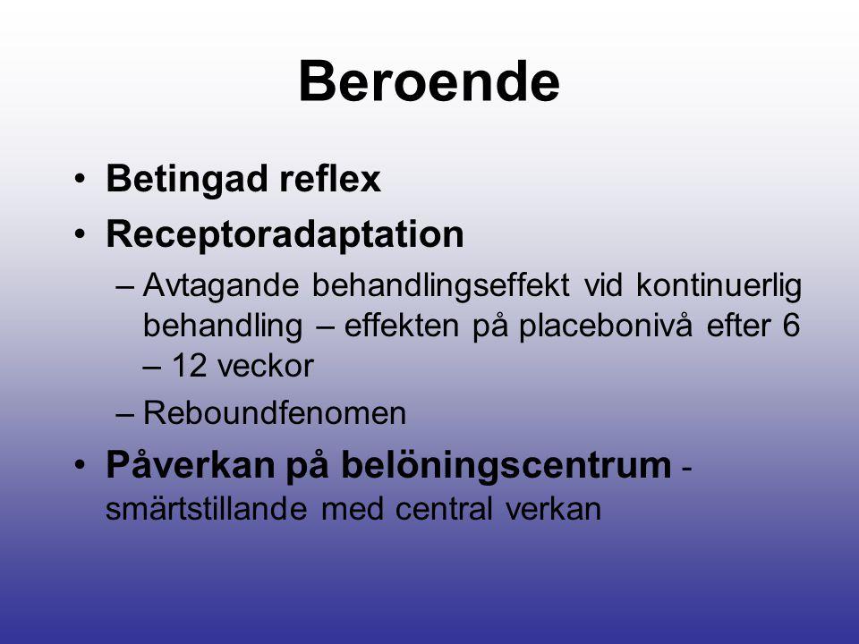 Beroende Betingad reflex Receptoradaptation –Avtagande behandlingseffekt vid kontinuerlig behandling – effekten på placebonivå efter 6 – 12 veckor –Reboundfenomen Påverkan på belöningscentrum - smärtstillande med central verkan