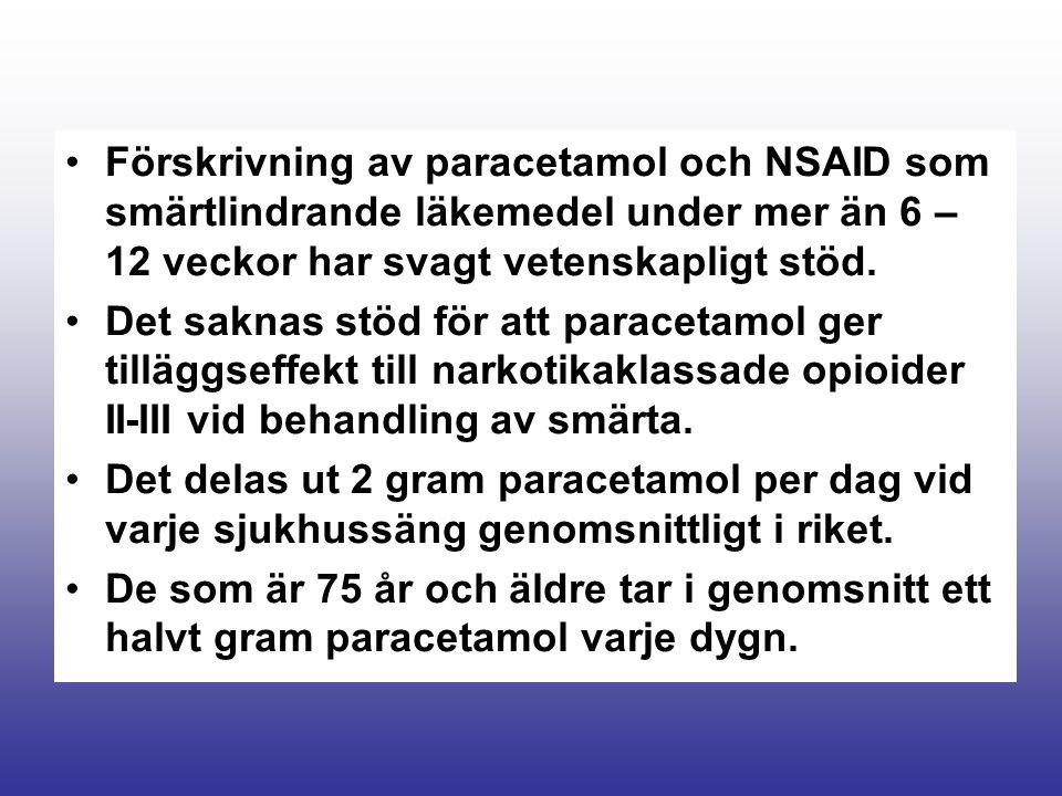 Förskrivning av paracetamol och NSAID som smärtlindrande läkemedel under mer än 6 – 12 veckor har svagt vetenskapligt stöd. Det saknas stöd för att pa