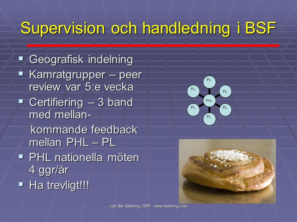 carl åke farbring, 2009 - www.farbring.com Supervision och handledning i BSF  Geografisk indelning  Kamratgrupper – peer review var 5:e vecka  Cert