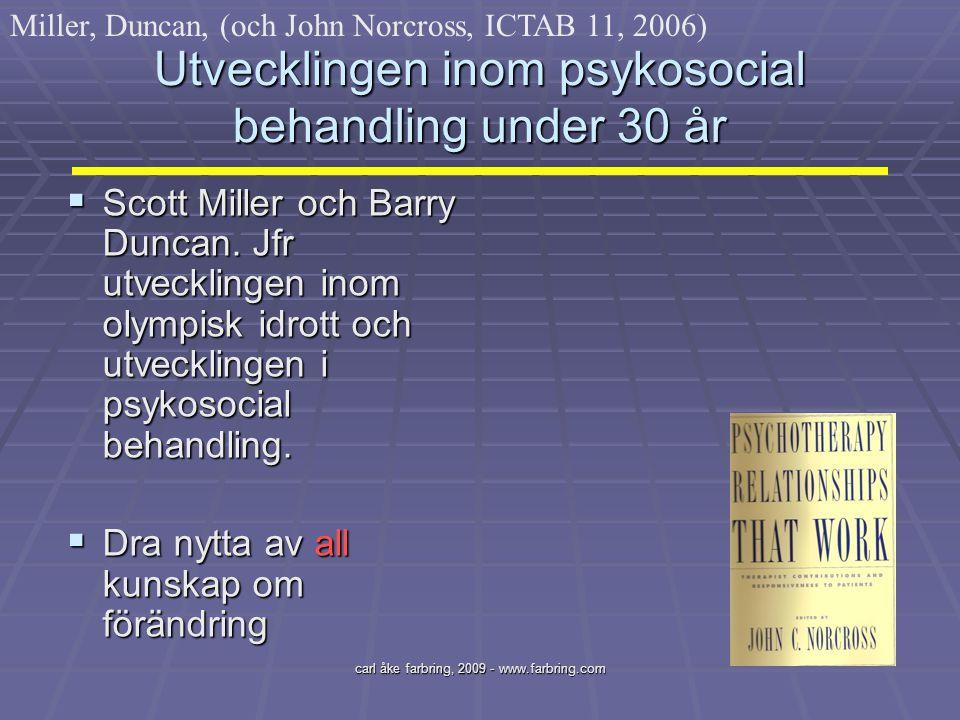 carl åke farbring, 2009 - www.farbring.com Utvecklingen inom psykosocial behandling under 30 år  Scott Miller och Barry Duncan. Jfr utvecklingen inom