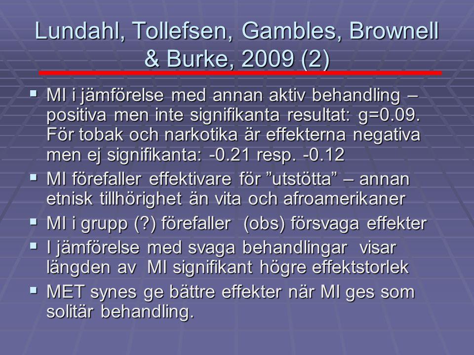 Lundahl, Tollefsen, Gambles, Brownell & Burke, 2009 (2)  MI i jämförelse med annan aktiv behandling – positiva men inte signifikanta resultat: g=0.09