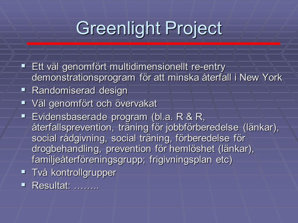 Greenlight Project: resultat Utfall Greenlight TSP Upstate Total Signifikans n=344 n=278 n=113 n=735 n=344 n=278 n=113 n=735Gripna på nytt 44% 35% 32% 39%.02 Gripna nya brott 24% 19% 16% 21% Ns Återkallad 29% 25% 17% 25%.05 frivård Vera Institute of Justice