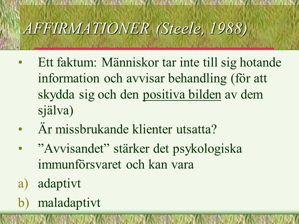 AFFIRMATIONER (Steele, 1988) Ett faktum: Människor tar inte till sig hotande information och avvisar behandling (för att skydda sig och den positiva b