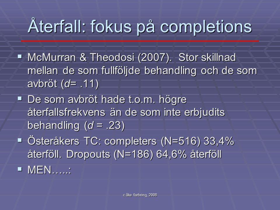 c åke farbring, 2008 Återfall: fokus på completions  McMurran & Theodosi (2007). Stor skillnad mellan de som fullföljde behandling och de som avbröt
