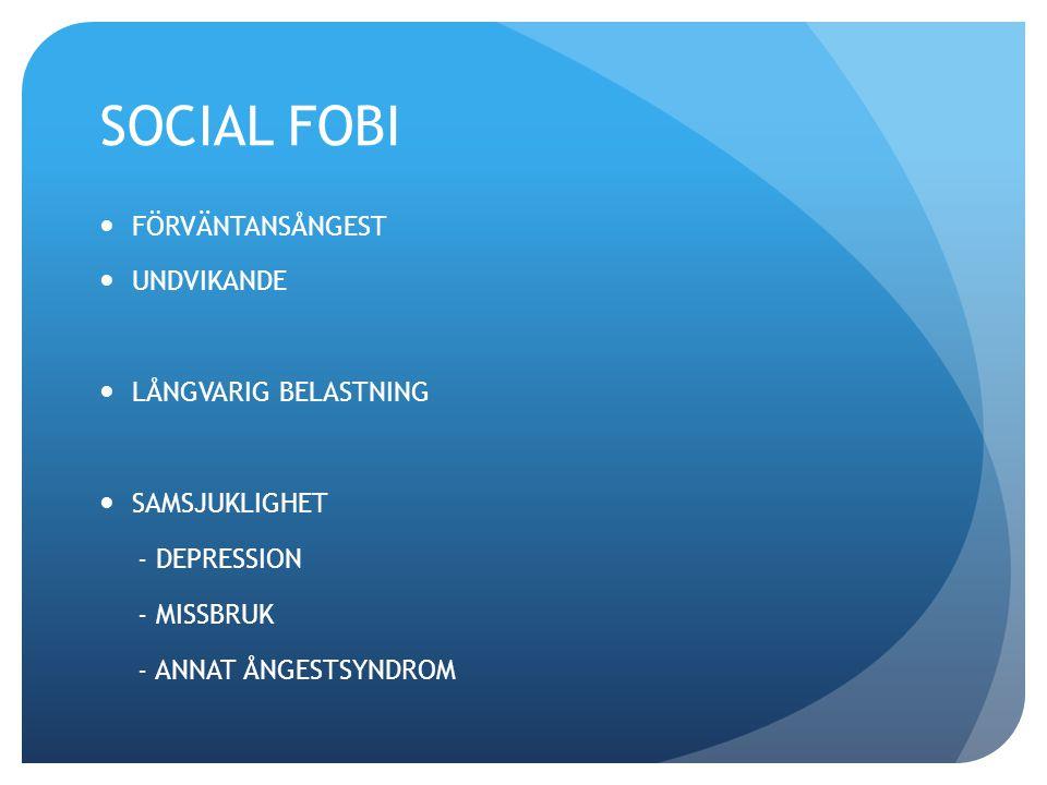 SOCIAL FOBI FÖRVÄNTANSÅNGEST UNDVIKANDE LÅNGVARIG BELASTNING SAMSJUKLIGHET - DEPRESSION - MISSBRUK - ANNAT ÅNGESTSYNDROM