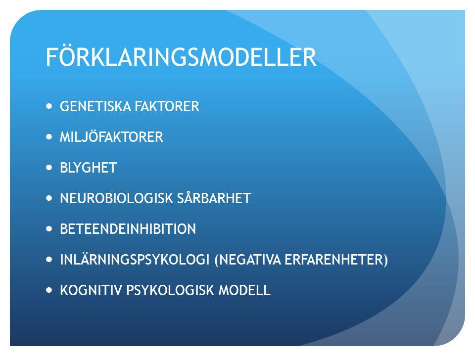 FÖRKLARINGSMODELLER GENETISKA FAKTORER MILJÖFAKTORER BLYGHET NEUROBIOLOGISK SÅRBARHET BETEENDEINHIBITION INLÄRNINGSPSYKOLOGI (NEGATIVA ERFARENHETER) K