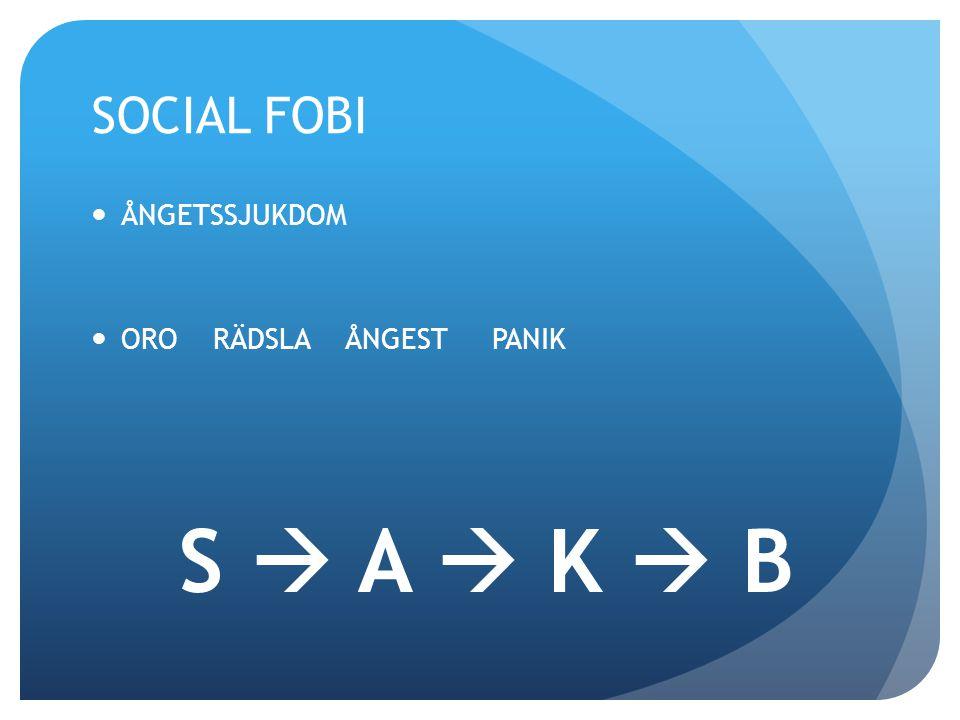 SOCIAL FOBI ÅNGETSSJUKDOM ORO RÄDSLA ÅNGEST PANIK S  A  K  B